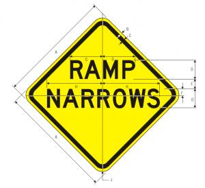W5-4 Ramp Narrows Warning Sign Spec