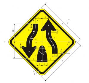 W6-2 Divided Highway Ends Warning Sign Spec