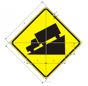 W7-1 Hill Warning Sign Spec