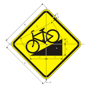 W7-5 Bicycle Hill Plaque Warning Sign Spec