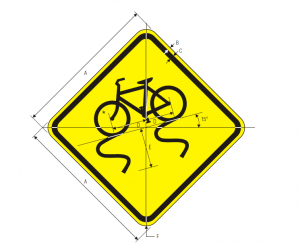 W8-10 Bicycle Slippery When Wet Warning Sign Spec