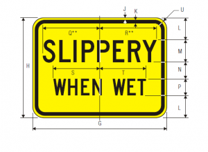 W8-10a Bicycle Slippery When Wet Plaque Warning Sign Spec