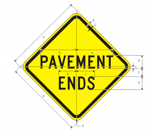 W8-3 Pavement Ends Warning Sign Spec