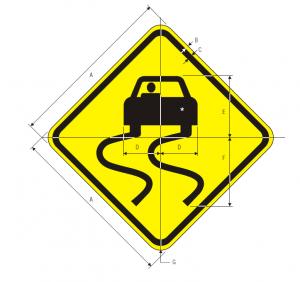 W8-5 Slippery When Wet Warning Sign Spec