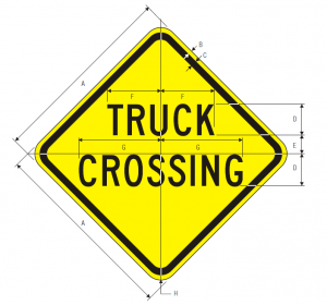 W8-6 Truck Crossing Warning Sign Spec
