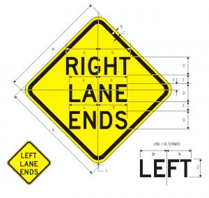 W9-1L Left Lane Ends Warning Sign Spec