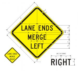 W9-2L Lane Ends Merge Left Warning Sign Spec